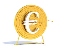 Golden Archery Target Euro. Golden arrow hitting archery target computer generated image vector illustration