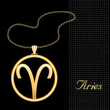 Golden Aries Pendant. Golden embossed horoscope symbol, necklace and gold chain, for the astrology Fire Sign, Aries, on a textured black background. EPS8 Stock Images