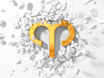 Golden aries symbol hitting to wall and flying pieces around. Golden aries symbol hitting to wall and flying wall pieces around. 3d illustration, suitable for Stock Photography