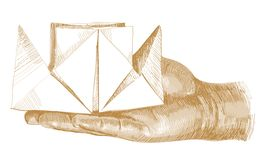 Golden arm with origami steamship Royalty Free Stock Photos