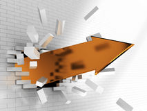 Golden arrow. Abstract 3d illustration of golden arrow breaking brick wall Stock Photography