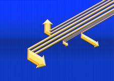 Golden arrow. Head in blue line background Stock Photo
