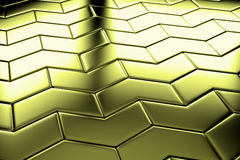 Golden arrow blocks flooring diagonal view Royalty Free Stock Photos