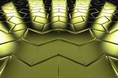 Golden arrow blocks flooring perspective view Stock Images