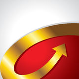 Golden arrow go upper side. Golden arrow with red background Stock Images