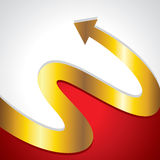 Golden arrow go upper side. Golden arrow with red background Royalty Free Stock Image