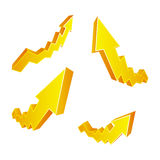 Golden arrows Stock Photography