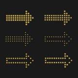 Golden arrows Stock Images