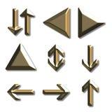 Golden arrows Royalty Free Stock Photos