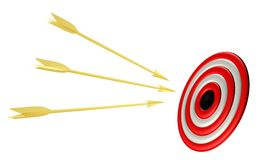 Golden arrows with  target Stock Image