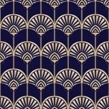 Golden Art Deco Abstract Palms on Dark Blue Vector Seamless Pattern. Abstract Egyptian Geometric Print vector illustration