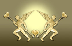 Golden art deco angel heart frame Royalty Free Stock Photo