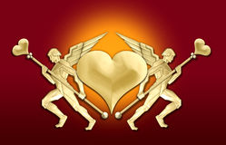 Golden art deco angel heart frame Royalty Free Stock Image
