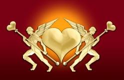 Golden art deco angel heart frame royalty free illustration