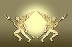 Golden art deco angel w/fork frame Royalty Free Stock Photos
