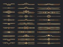 Free Golden Art Deco Dividers. Vintage Gold Ornaments, Decorative Divider And 1920s Header Ornament Vector Set Royalty Free Stock Images - 166407409