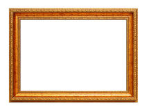 Golden art frame isolated on white Royalty Free Stock Photography