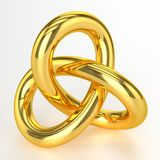 Golden Artwork. 3D Golden Artwork - Object On White Background Stock Image