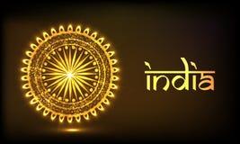 Golden Ashoka Wheel for Indian Republic Day celebration. Royalty Free Stock Photos