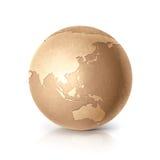 Golden Asia & Australia world map. On white background Royalty Free Stock Photo