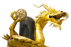 Golden asian dragon made of recycle metals isolated on white bac Stock Photos