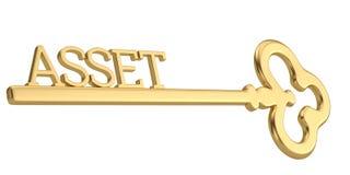 Golden asset key isolated on white background. 3D illustration royalty free illustration