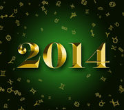 2014 golden astrology signs Stock Photography