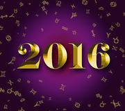 2016 golden astrology signs Royalty Free Stock Images