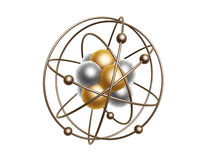 Golden atom structure. Isolated on white background Stock Image