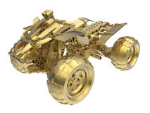 Golden ATV. 3D rendered illustration of a golden ATV. The illustration can be used as an award or trophy. The ATV is isolated on a white background with no Royalty Free Stock Photo