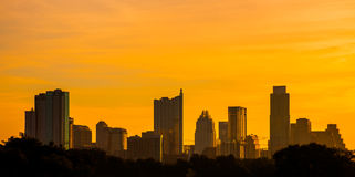 Golden austin texas skyline zilker park Royalty Free Stock Image
