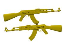 Golden Automatic Rifle AK47. An illustration of an isolated automatic kalashnikov rifle. AK47. gold plated Royalty Free Stock Image