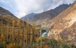 Golden Autumn Around Khalti Lake, Gupis City, Ghizer Valley, Northern Pakistan Royalty Free Stock Photography