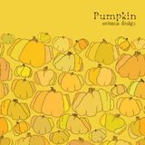 Golden autumn background. Border design of pumpkin pattern. Text place. Stock Photography