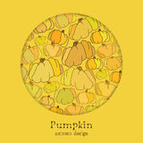 Golden autumn background with circle design pumpkin pattern. Text place. Royalty Free Stock Photos