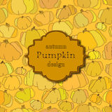 Golden autumn background with seamless pumpkin pattern and retro label. Royalty Free Stock Photo