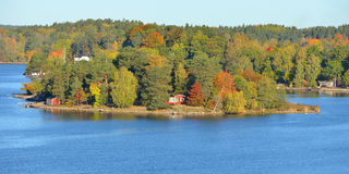 Golden autumn  in Baltic Sea. Golden autumn. Stockholm archipelago is largest in Sweden, and second-largest in Baltic Sea. Archipelago extends from Stockholm Stock Photo