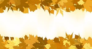 Golden autumn border made from leaves. EPS 8 Stock Photography