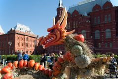 September 2017, Moscow, Russia. Festivities at the Manege square during the festival `Golden autumn`. The Golden Autumn festival on Manezh square. Dragon of the Stock Photo