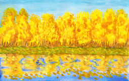 Golden autumn forest , painting Stock Photo