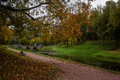 Golden autumn in Gatchina Park Stock Photos