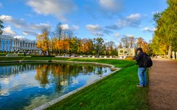 Golden autumn on the lake in sunny day stock photos