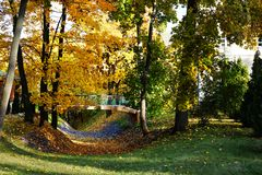 Golden autumn landscape. A small bridge over a ravine surrounded royalty free stock photo