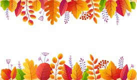 Golden autumn leaves colorful vector poster background. Bright fall foliage side frame isolated on white background.  vector illustration