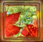 Golden autumn leaves through glass brick window Royalty Free Stock Photos