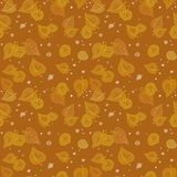 Orange gold autumn leaves seamless pattern on warm beige background with white round points stock illustration