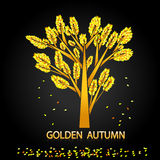 Golden autumn. Lonely tree and autumn leaves. Royalty Free Stock Images