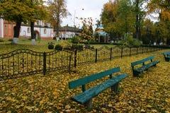 Golden autumn in a monastery royalty free stock photos