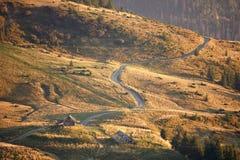 Golden autumn on the mountain meadow. Autumn at the mountains valley. Sunset at Carpathian mountains. Ukraine. West Europe Stock Image