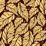 Golden autumn pattern. Gold illustration leaf vector Royalty Free Stock Photo